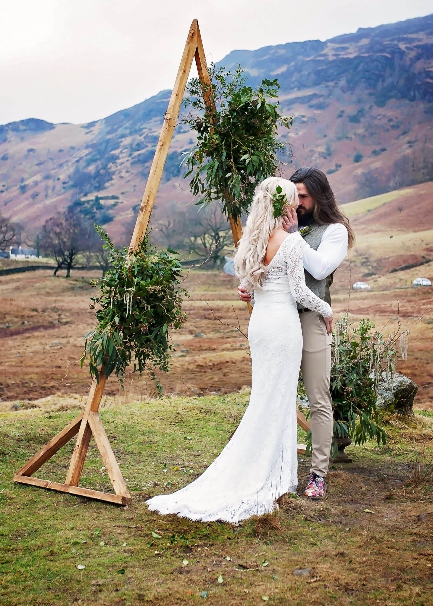 Bride and groom at the wedding in Lake District