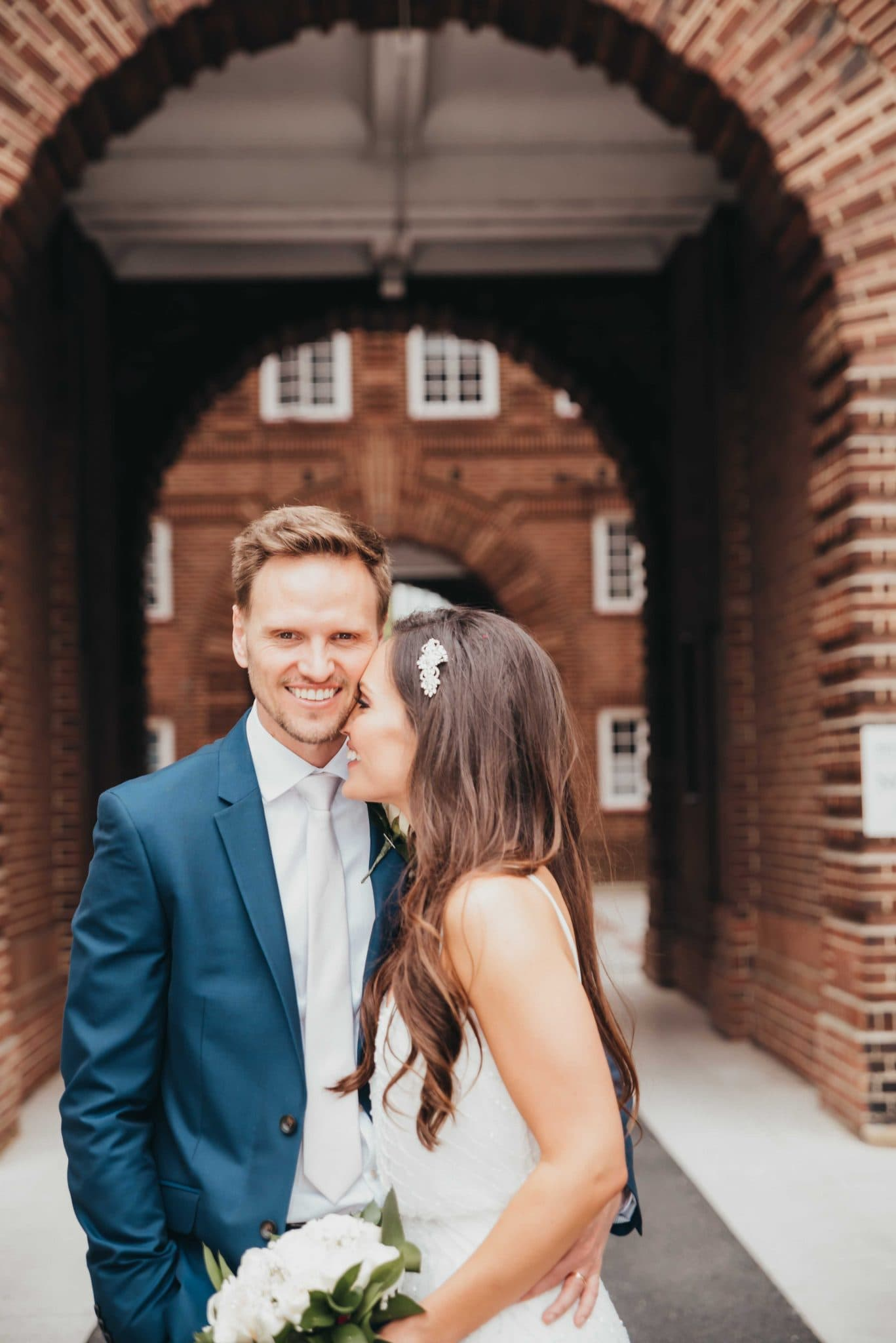 Married couple at the registry office, Ivy restaurant london