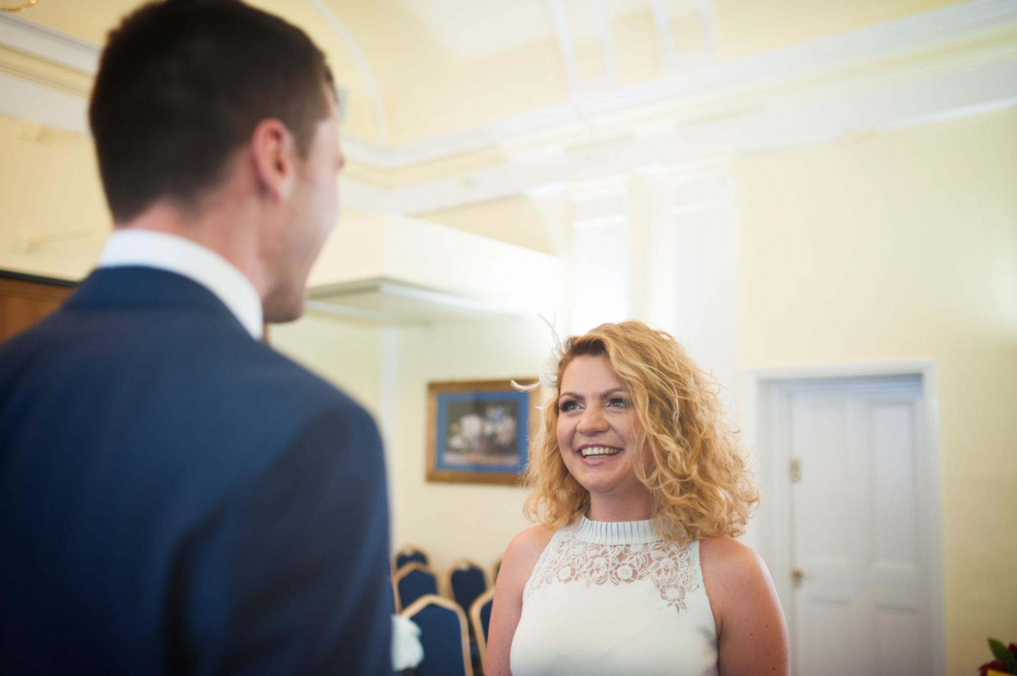 Bromley on Bow Registry office, London UK Wedding photography ceremony room wioth the guest