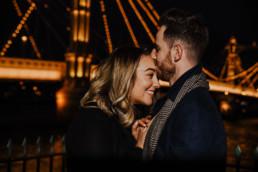 couple kissing near Chelsea Bridge