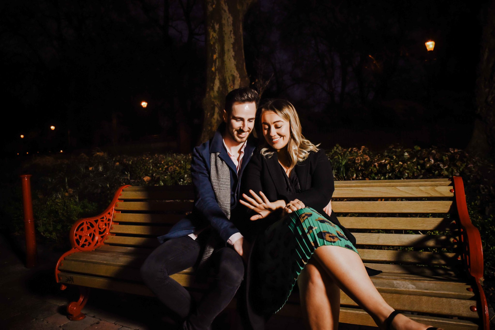 Couple sitting on a bench