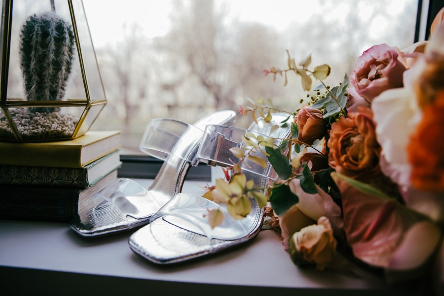 Shoes on the window ready for the wedding