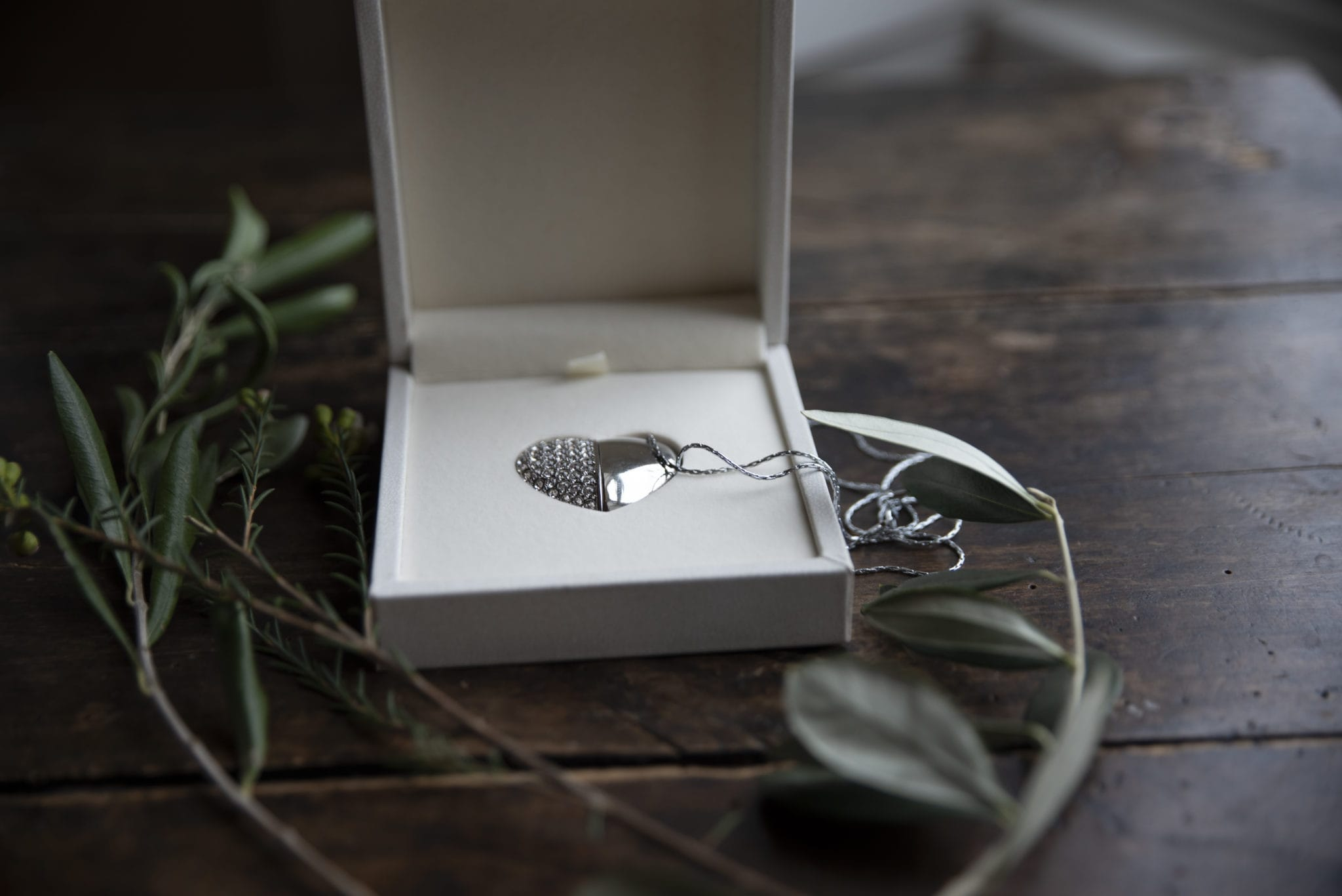 Wedding Photography USB collection with a wedding package, London, Harrow USb iin a silver heart shape.