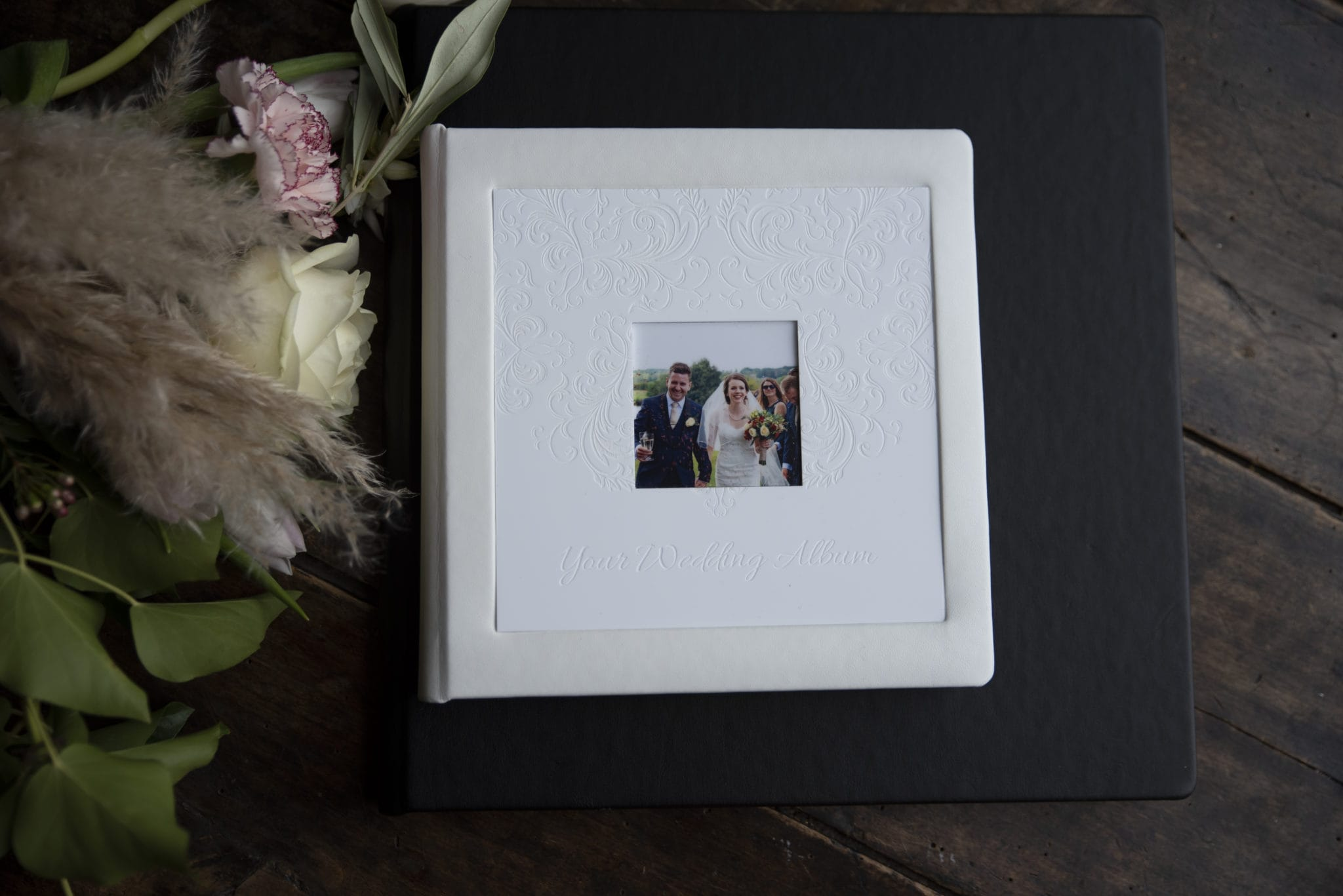 Wedding photography white album with a photo window
