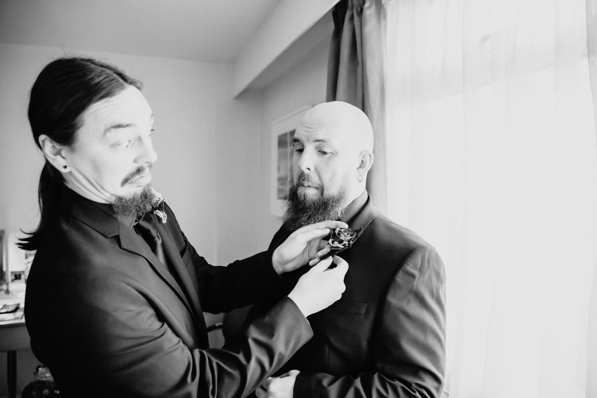 Samat the Hilton Hotel Watford , getting ready for his with is grooms menwedding