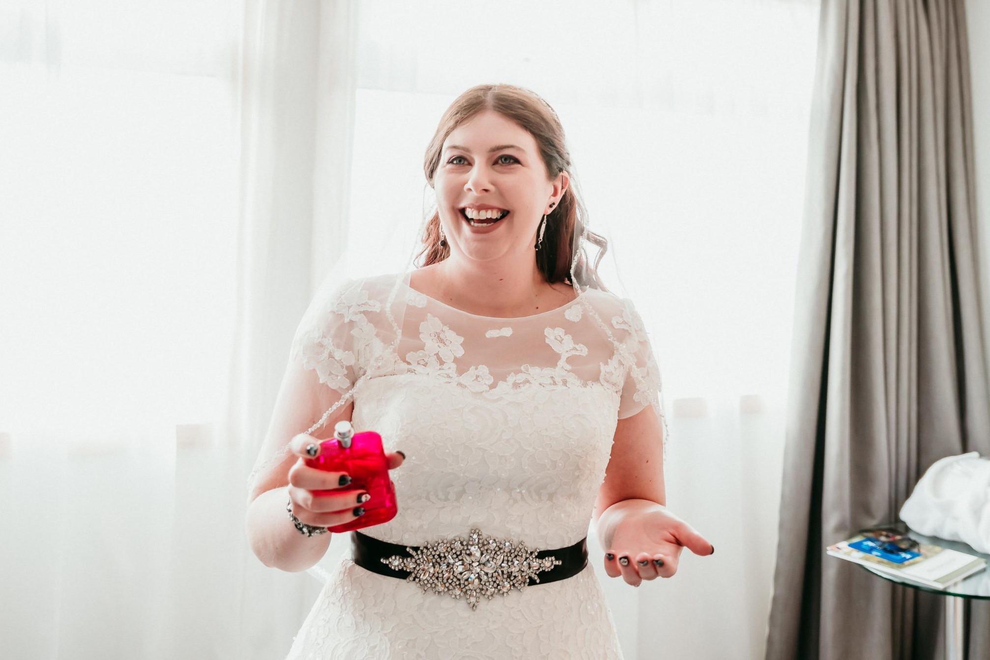 Sarah at the Hilton Hotel Watford , getting ready for her weddinga