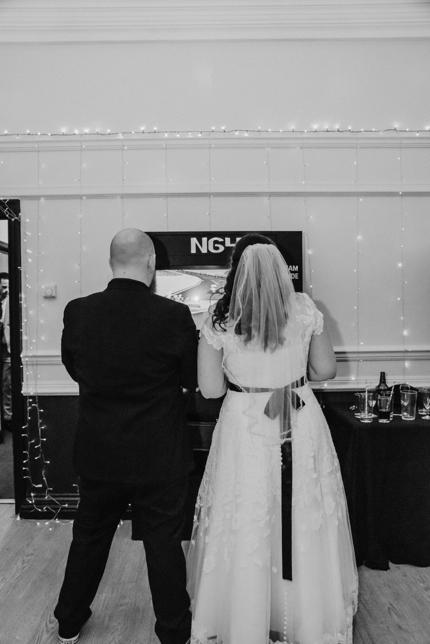 Wedding first dance at the Shenley Cricket club, Sarah and Sam playing NG4 playstaion gaming station