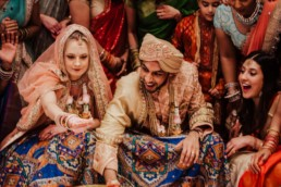 bride and groom playing Indian Ring ceremony game