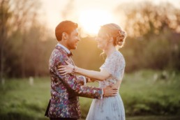 couple dancing in the sunset