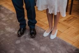 Katya in silk vintage weddign dress, Brett in blue suit at the Old Marylebone registry office london ceremony, wedding shoes photo
