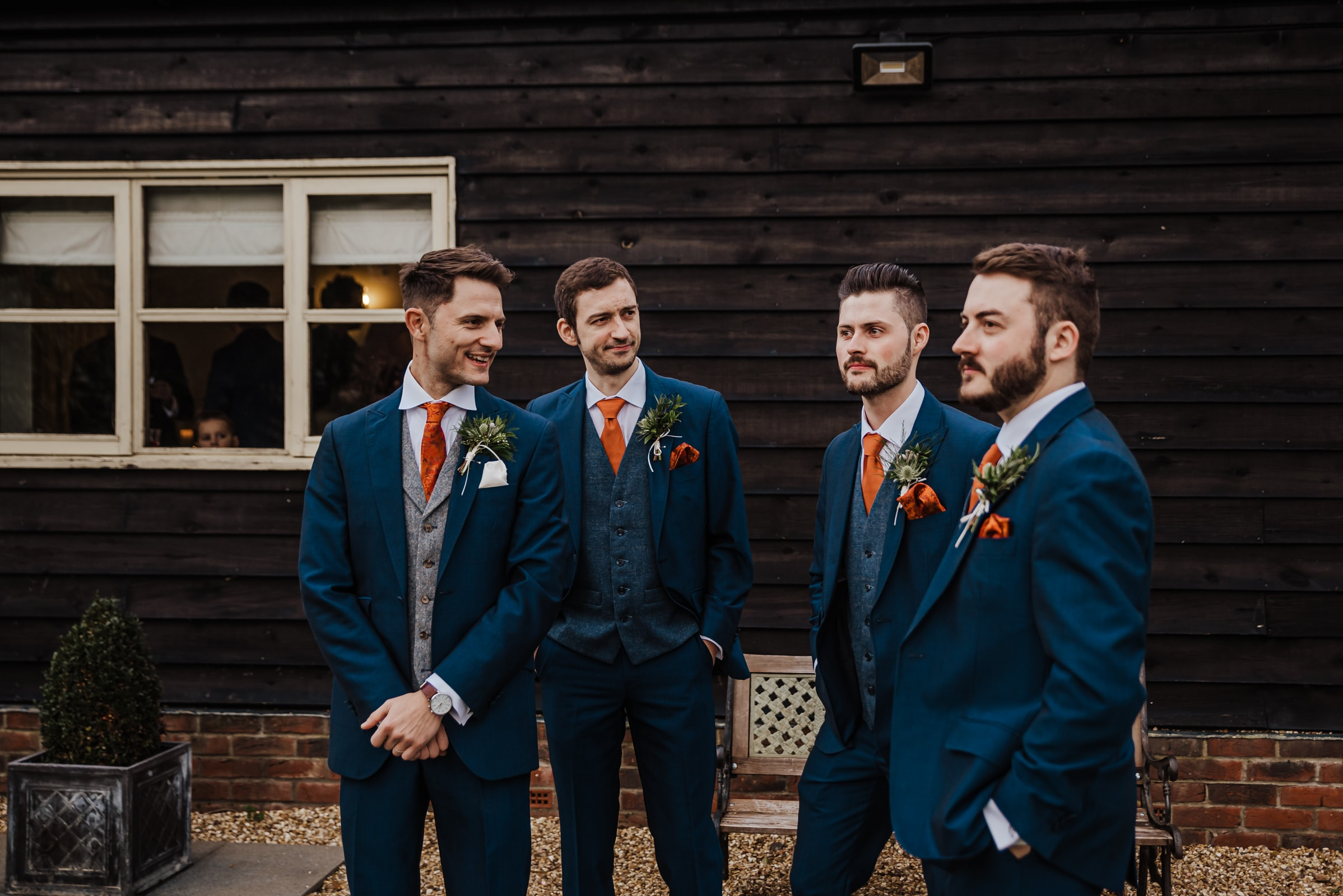 Groom getting ready with the groomsmen dinosaur a themed menus Roshni photography The Milling Barn, Bluntswood Hall, Throcking wedding photographer