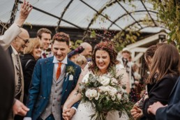 Bride and groom had confetti thrown at them when leaving the ceremony