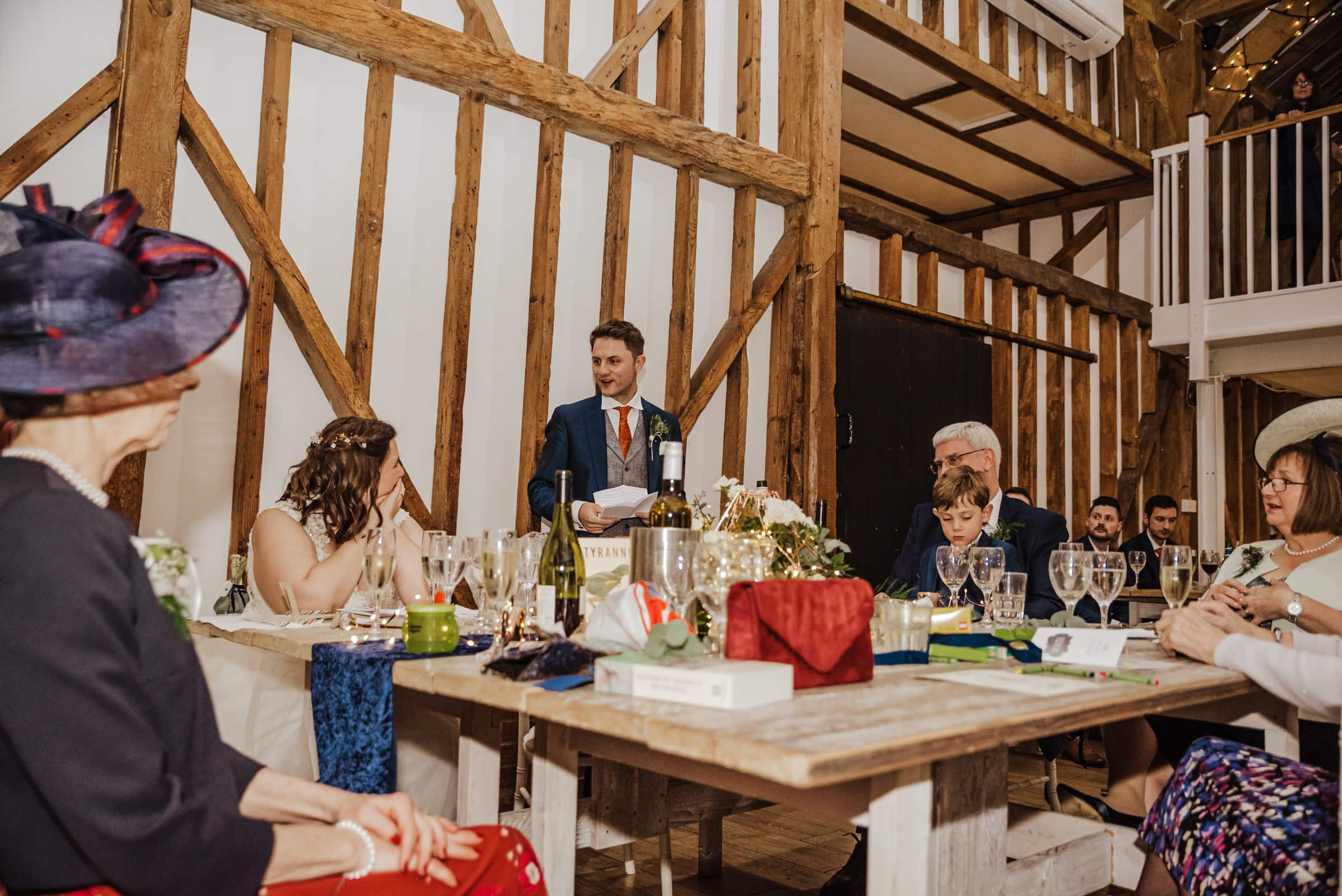 Groom giving speach at the reception Roshni photography The Milling Barn, Bluntswood Hall, Throcking wedding photographer