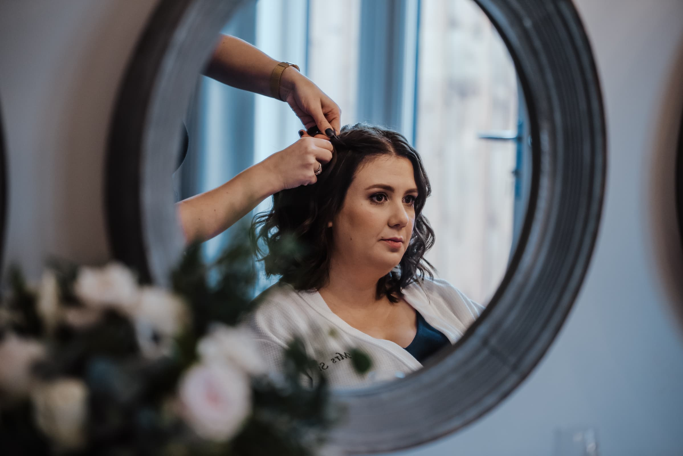 Bride getting ready Roshni photography The Milling Barn, Bluntswood Hall, Throcking wedding photographer