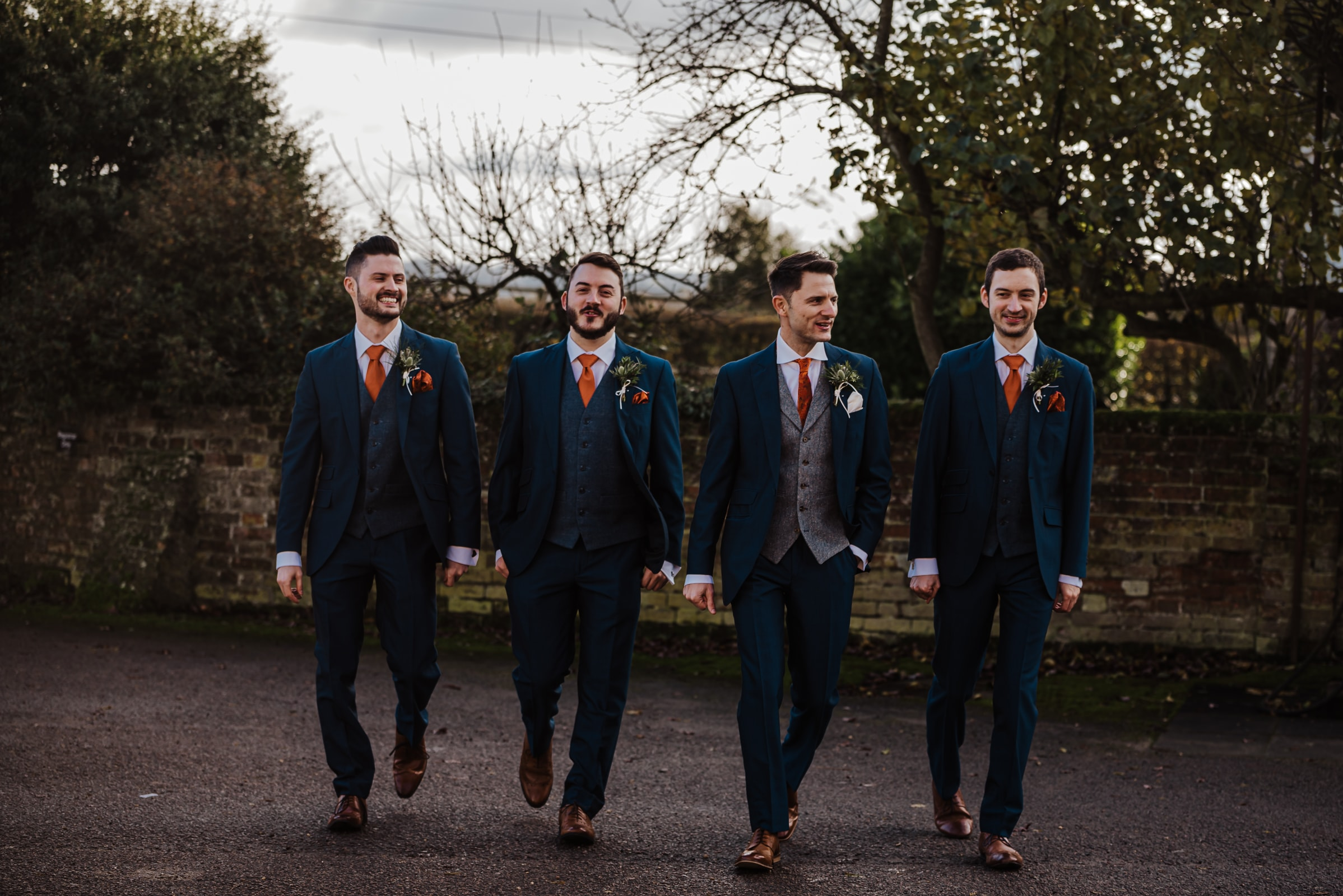 Wedding ceremony groom and the groomsmen in blue suits Roshni photography The Milling Barn, Bluntswood Hall, Throcking wedding photographer