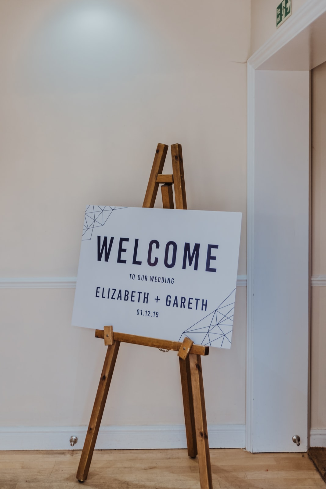 wedding welcome sign Roshni photography The Milling Barn, Bluntswood Hall, Throcking wedding photographer