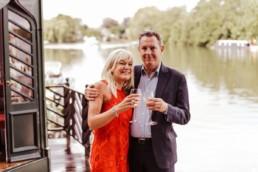 Couple celebrating their wedding at The Waterside Inn,Ferry Road, Bray, Maidenhead, Couple celebrating their wedding at The Waterside Inn,Ferry Road, Bray, Maidenhead