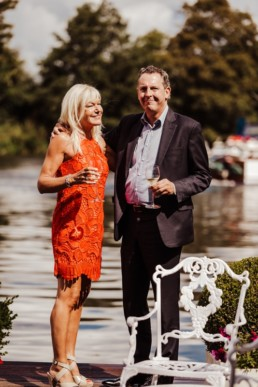 Couple celebrating their wedding at The Waterside Inn,Ferry Road, Bray, Maidenhead